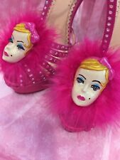 Charlotte Olympia BARBIE Pink Silk Satin Crystal Lucite Shoe Sandals 36