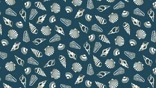 Fabric 100% cotton, Makower UK. Seaview Shells Blue 1639/1