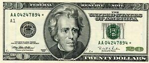 1996 $20 STAR CU FEDERAL RESERVE NOTE PAPER MONEY!!!..STARTS @ 2.99