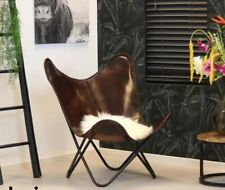Rustic Vintage Handcrafted Brown Genuine Leather Relax Arm Butterfly Chair BKF