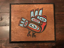 """Vintage Exceptionally Carved & Painted Tlingit Cedar Panel """"Raven"""" Abalone Inlay"""