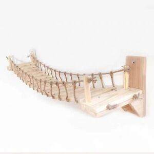 Roped Cat Bridge Tree Tower Wall Wood Climbing Frame Wall Sisal Scratchin Post
