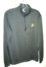 LevelWear Mens S Anaheim Ducks Charcoal Quarter-Zip Pullover Jacket Gray Youth L