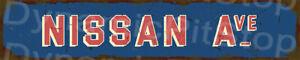 60x12cm Nissan Ave Rustic Tin Street Sign, Man Cave, Bar, Garage, Vintage, Retro