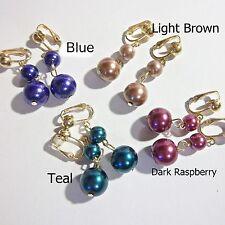Faux Glass Pearl 1 Inch Drop Dangle Clip On or Pierced Earrings Choose Color 1pr