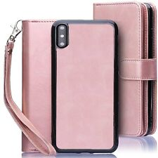 Detachable Magnetic Leather Wallet Purse Case for iPhone Xs Max Xr X Samsung S9+