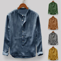 Mens Collarless Long Sleeve Shirt Vintage Chinese Slim Fit Casual Formal Top Tee