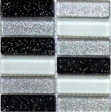 SAMPLE Mosaic Wall Tiles Black Silver White Glitter Glass Brick Style 0028
