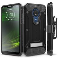 Motorola Moto G7 Power Case, Belt Clip Holster & Glass Screen Protector (XT1955)