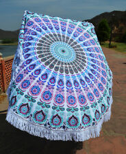Indian Mandala With Lace Round Tapestry Indian Wall Hanging Beach Throw Yoga 72""