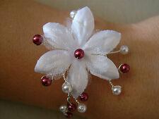 Bracelet  Blanc/Bordeaux p robe de Mariée/Mariage/Soirée, Fleur/Perles nacrées