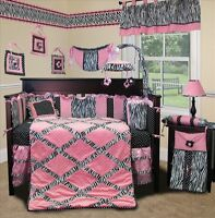Baby Boutique - Pink Minky Zebra - 14 pcs Crib Nursery Bedding w Music Mobile