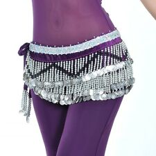 SF258# Silver Coins Velvet Belly Dance Costume Hip Scarf Belt 10 Colors