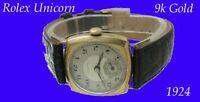 Vintage  9k Gold Rolex Unicorn Cushion  Deco Gents Wrist Watch 1924