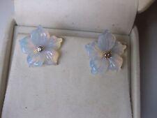 """VINTAGE ELEGANT EARRINGS """"FLOWER"""" of HAND-CARVED OPAL & DIAMOND"""