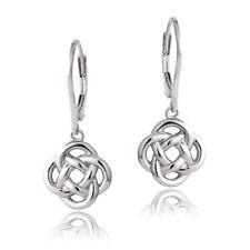 925 Silver Love Knot Flower Dangle Leverback Earrings