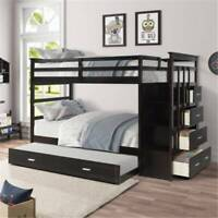 Solid Wood Twin over Twin Bunk Bed with Wooden Trundle & Storage Drawers US Hot!
