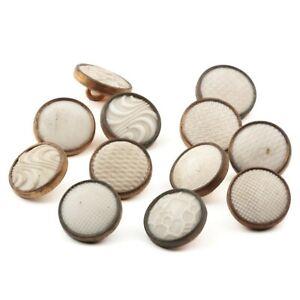 Lot (12) antique Czech 2 part brass mounted white glass cabochon buttons