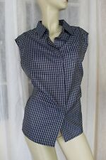 NEW SIZE 12 CATCHLOVE COLLECTIVE BLUE CHECK SLEEVELESS BUTTON FRONT SHIRT $135🍨
