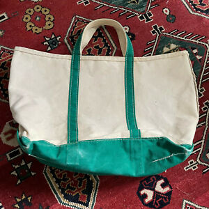 Vintage 70s LL Bean Boat and Tote Bag Cream Green Straps Canvas Large 22x16