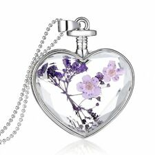 Fresh Dried Flower Glass Locket Heart Chain Pendant Necklace Women Jewelry Gift
