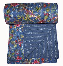 INDIAN KANTHA QUILTS BEDSPREAD TAPESTRY BEDDING BLANKET THROW BIRDS COTTON ART