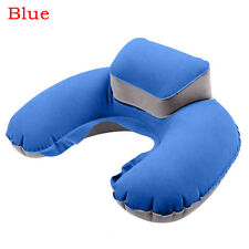 Hot Travel Inflatable Neck Air Pillow Blue Flocking U-shape Blow up Cushion 1pcs Blue