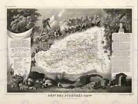 MAP OLD FRANCE LEVASSEUR PYRENEES-ORIENTALES DEPARTMENT POSTER PRINT BB12073B