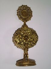 Vtg ORMOLU GOLD CHERUB FILIGREE Metal PERFUME BOTTLE w/Dauber/Glass insert 1950s