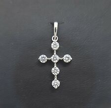 Miran 081108 18k White Gold CZ Cross Pendant 1.2g RRP $350