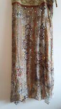 WD-NY women's silk  chiffon boho maxi skirt sequins/rhinestones lined new 12