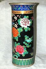 "~  Estate HAND PAINTED Scarce CHINESE FAMILLE NOIRE HAT STAND Gold Accents 13"" ~"