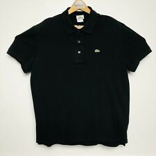 Lacoste Mens Black S/S Ctn 3 Btn Collared Polo Shirt Size 6 XL
