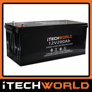 iTECH200 12V 200Ah Lithium Ion Battery LiFePo4 Deep Cycle Recycle Camping RV