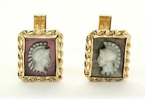 Fine Heavy Large 14k Gold Ancient Roman Cuff Links MOP Carved 10.5 Grams #20596