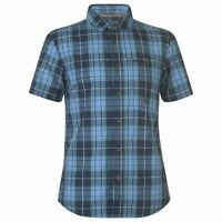 SoulCal Check Short Sleeve Shirt Mens Gents Everyday Cotton Stamp Fold Over