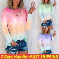 Women Loose T-Shirt Tie-Dye Gradient Shirt Ladies Long Sleeve Blouse Summer Tops