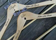 Engraved Wedding Coat Hanger Personalised Wooden Pine Finished with Bridal Bows