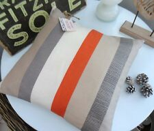 CUSHION COVER PURITAN STRIPE GREY CLEMENTINE ORANGE TANGERINE RETRO SPRING B  yt