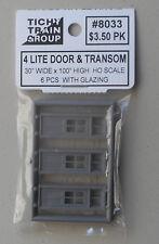 6 4 Lite Door & Transom HO 1:87 SCALE LAYOUT DIORAMA TICHY TRAINS 8033