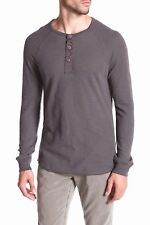 NEW MENS LARGE DARK GREY LUCKY BRAND LIVED IN THERMAL HENLEY SHIRT LONG SLEEVE