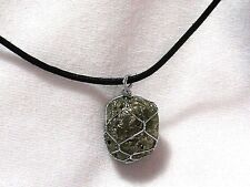 "PYRITE GEMSTONE 17x 20mm WIRE WRAPPED PENDANT ON 20"" BLACK CORD NECKLACE NEW"