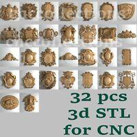 32 pcs set 3d stl models  for CNC Router Artcam Aspire