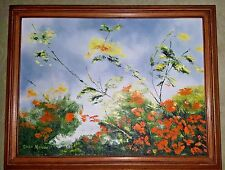 FLOWER OUTDOOR LANDSCAPE - OIL ON CANVAS - PAINTING BY DEAN NEWELL