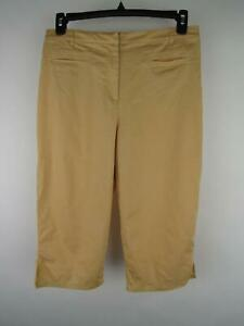 Chico's Women's sz 2 Tan Cotton Spandex Blend Stretch Capri Straight Pants