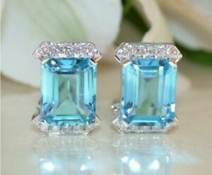 3 Carat Emerald Cut Blue Topaz And Diamond Stud Earrings 14k White Gold Finish