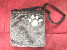 Brown Small Animal Carry Pouch Bag Faux Fur Padded Paw Print Sick Visits Outings