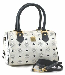 Authentic MCM Leather Vintage 2Way Boston Hand Bag White Navy D1345