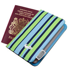 Passport Holder in Blue Stripe Fabric