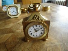Vintage Gold plated ANGELUS 8 Days Desk Alarm Clock. Cal. 243. For parts.